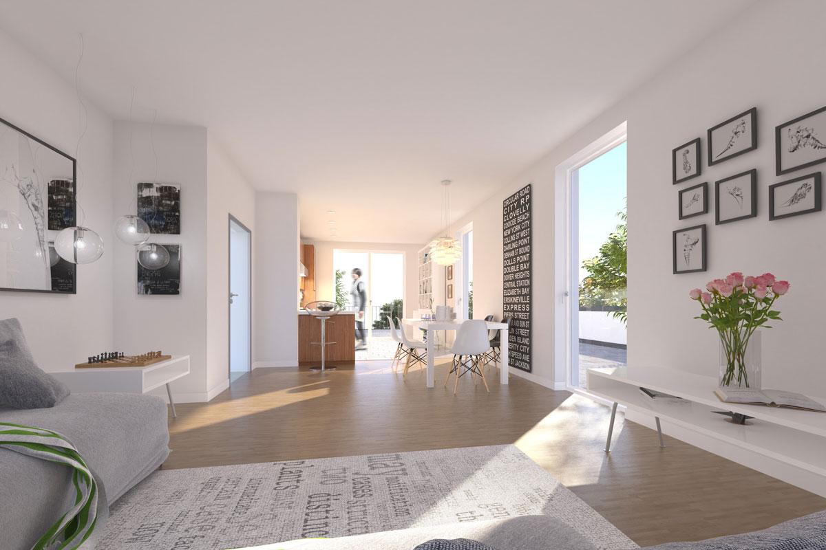 Wohnung Seestädter Platz in Langenhagen  Visualisierungsbeispiel Wohnzimmer. Einrichtungsbeispiel – dargestellter Parkettboden ist ein beispielhafter Belag.