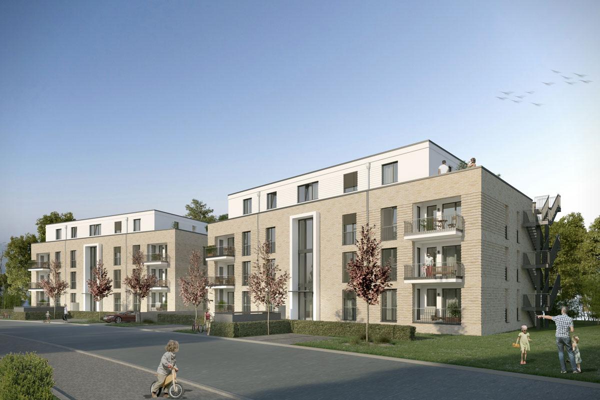 Eigentumswohnung am Seestädter Platz in Langenhagen Visualisierungsbeispiel Front-Ansicht.
