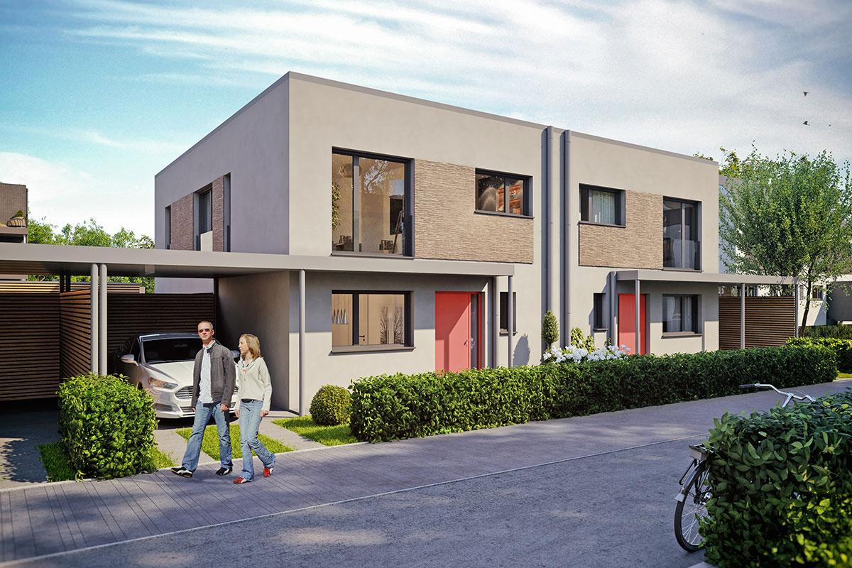 Caleidis Visualisierungsbeispiel Einfamilienhaus Doppelhaus modern – Entwurf, Änderungen vorbehalten