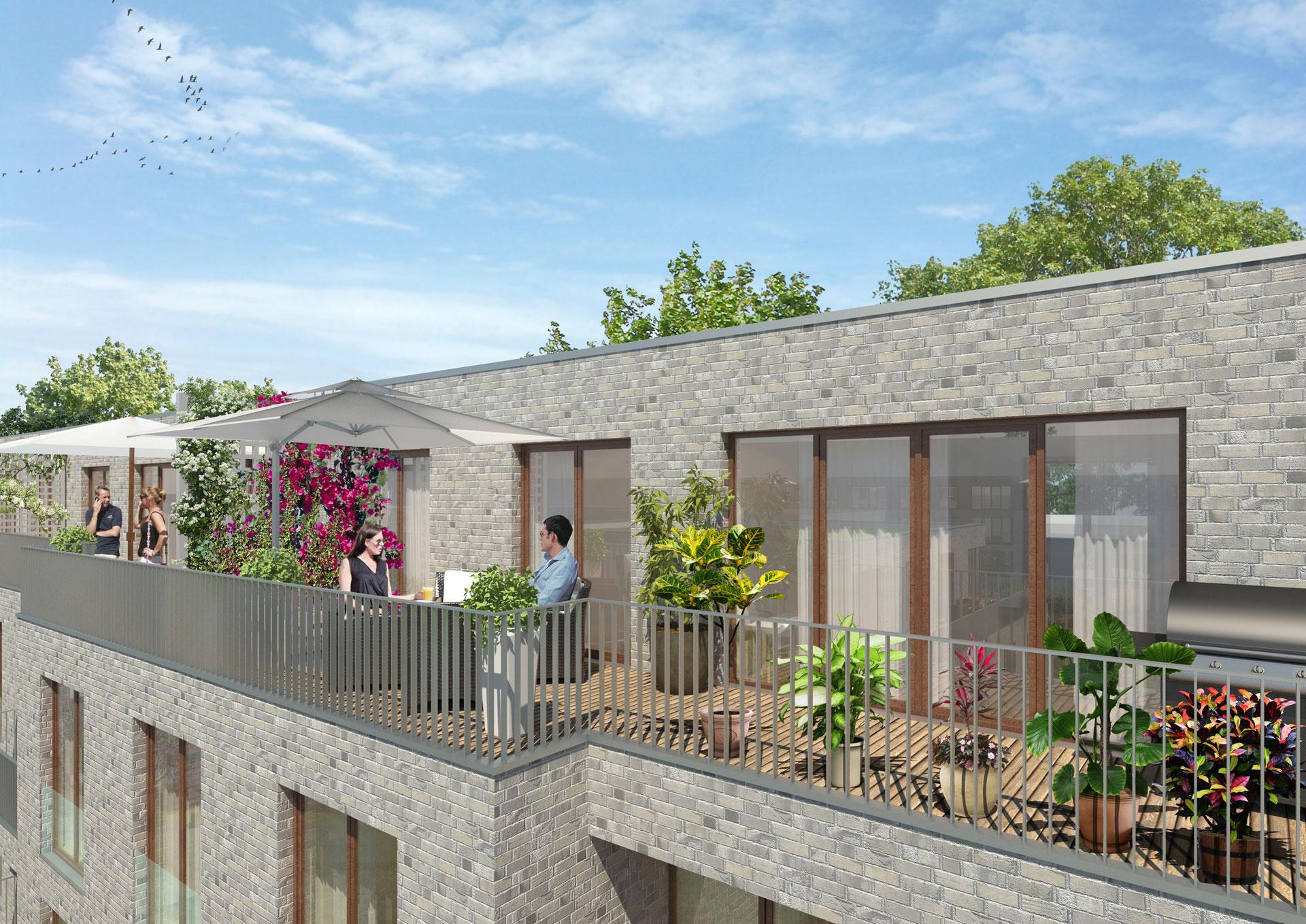 Visualisierungsbeispiel Dachgeschoss Wohnung mit Dachterrasse